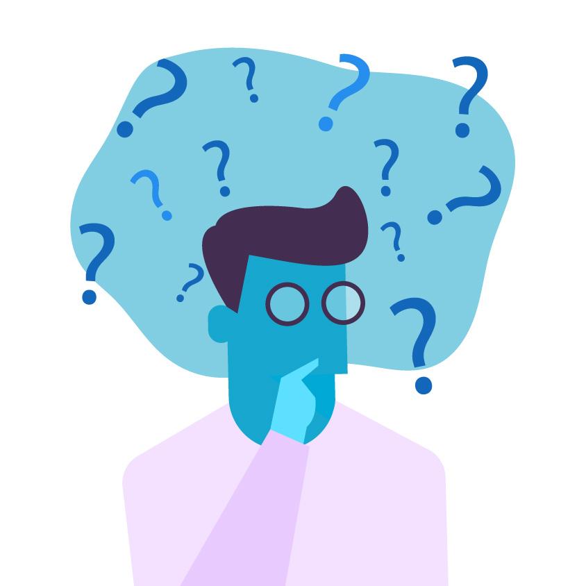 Grafika człowieka ze znakami zapytania