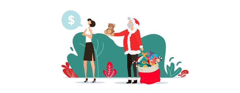 nietrafione benefity: mikołaj z prezentami