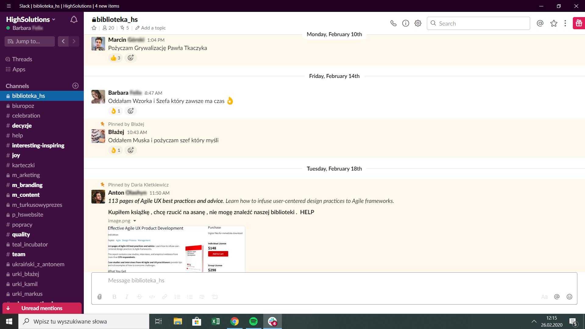 screan z komunikatora Slack obrazujący pracę kanału biblioteka HS
