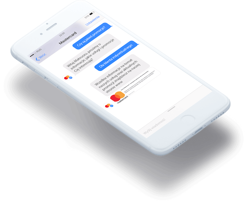 Grafika pokazująca chatbota w Messengerze