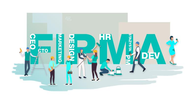 Grafika przedstawiająca zespół, który współpracuje przy budowaniu i rozwijaniu firmy