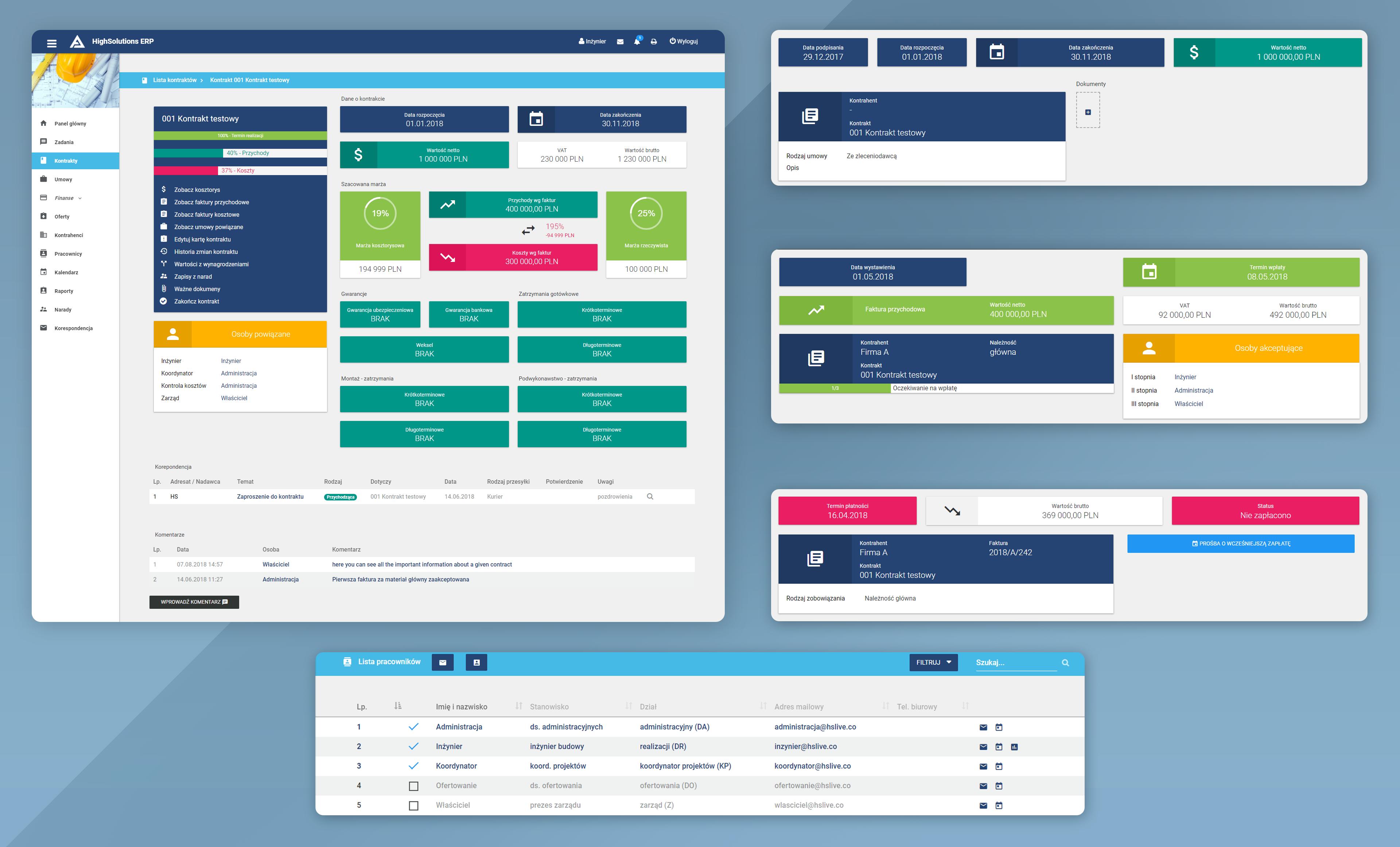 Grafika pokazująca system ERP (Alcomex Office) wykonany przez HighSolutions dla firmy Alcomex